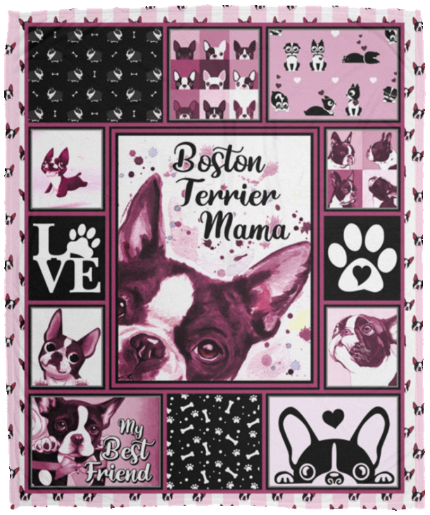 Boston Terrier Blanket Boston Terrier Mama Fleece Blanket Cubebik