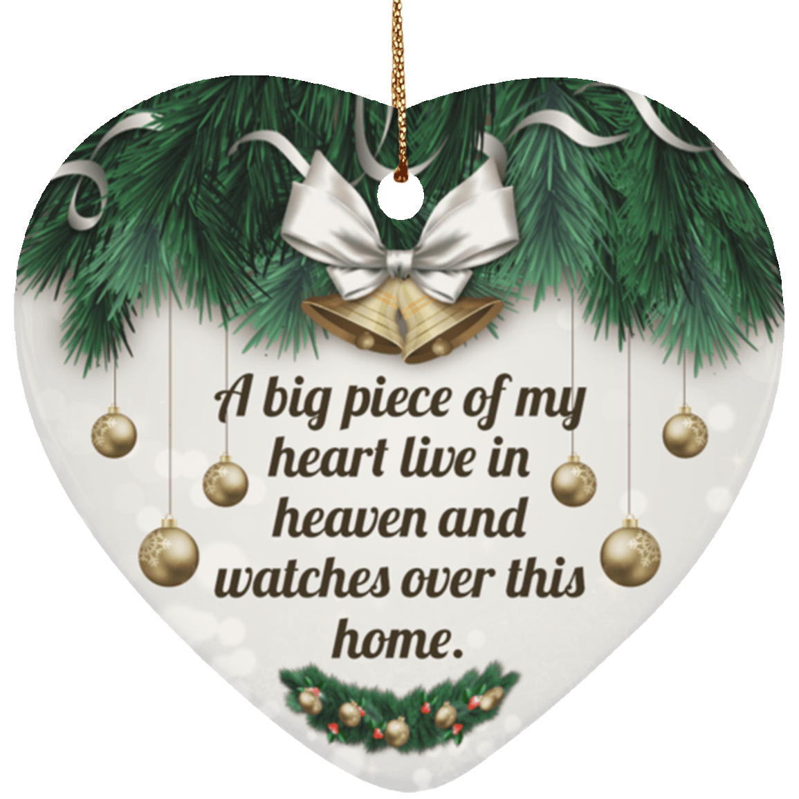 Christmas In Heaven Ornament.A Big Peace Of My Heart Lives In Heaven And Watches Over This Home Christmas Ceramic Heart Ornament