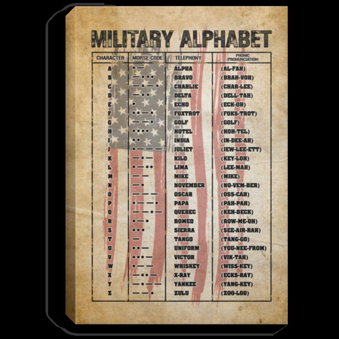 Military Phonetic Alphabet Military Alphabet Morse Gallery Wrapped Framed Canvas Cubebik