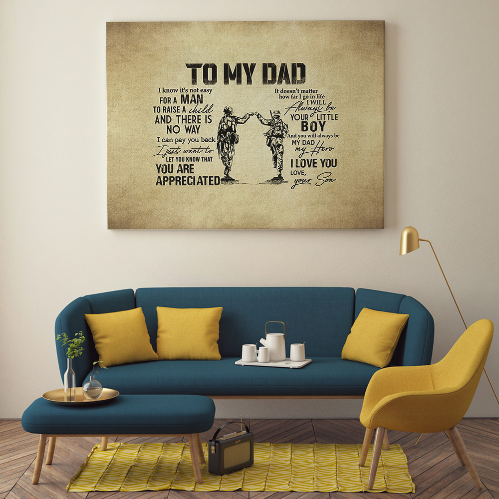 To My Dad Gift from Son Army Military Soldier Father/'s Day Poster No Frame