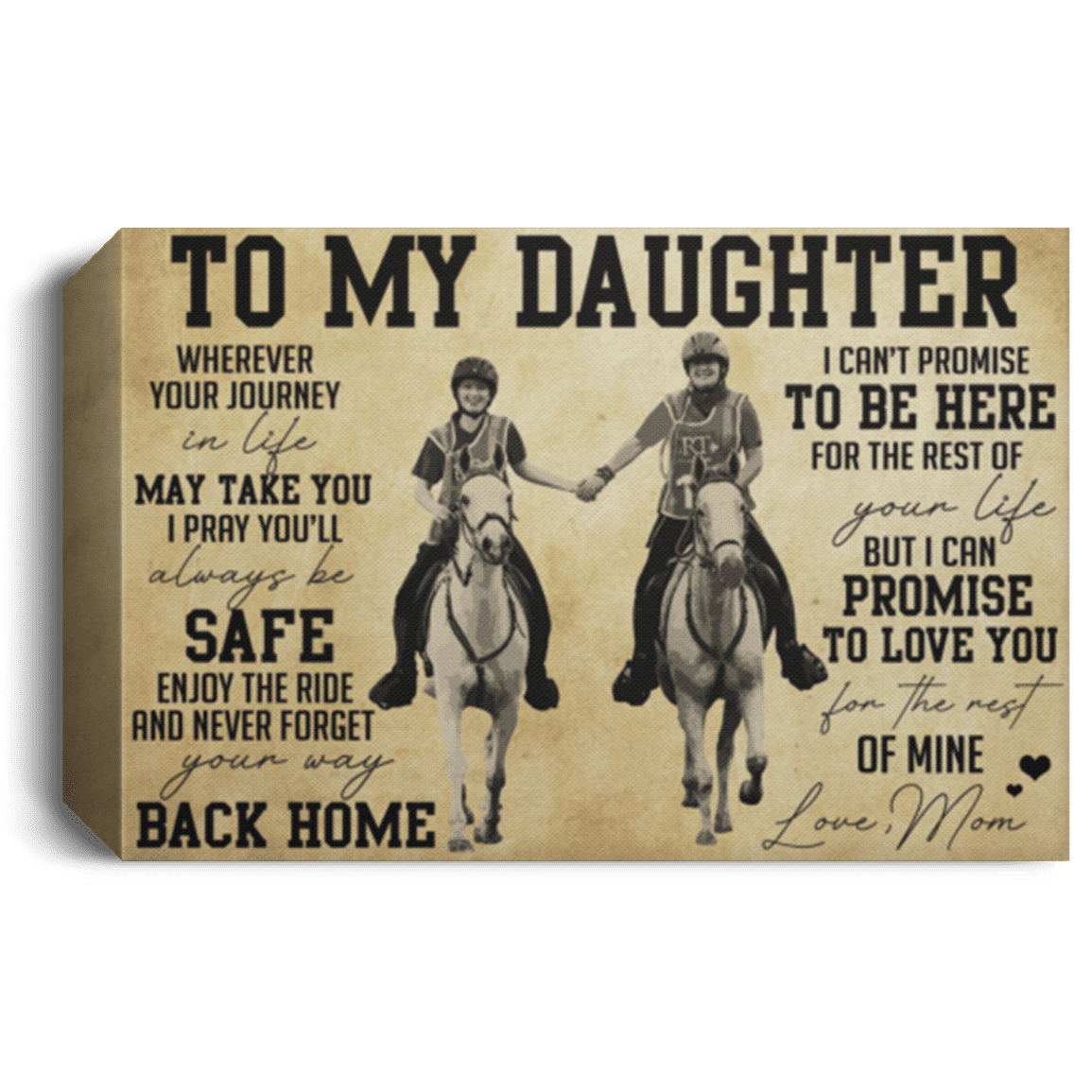 To My Daughter Horse Poster Mom To My Daughter Horse Wherever Canvas Cubebik