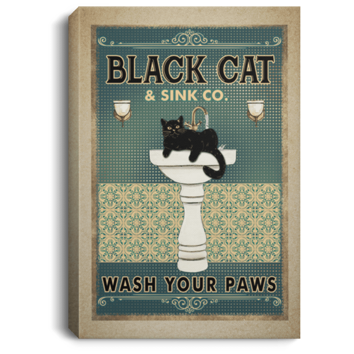 Black Cat Bathroom Decor Black Cat Wash Your Paws Gallery Wrapped Framed Canvas Cubebik