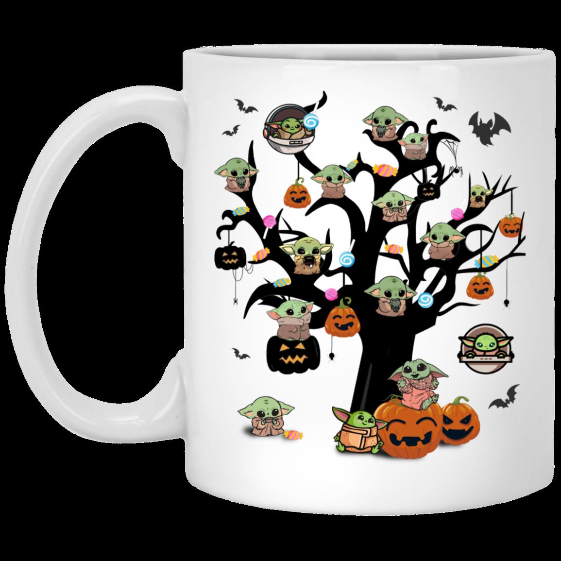 Cute Baby Yoda Tree Halloween Mug Cute Baby Yoda Tree Funny Halloween Coffee Mug Cubebik