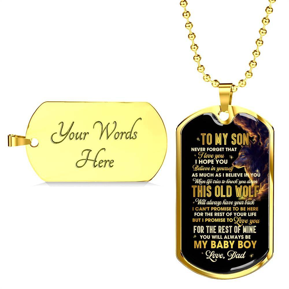 To My Son Never Forget How Much I Love You Love Dad Dog Tag Necklace Birthday Anniversary Graduation Military Gift