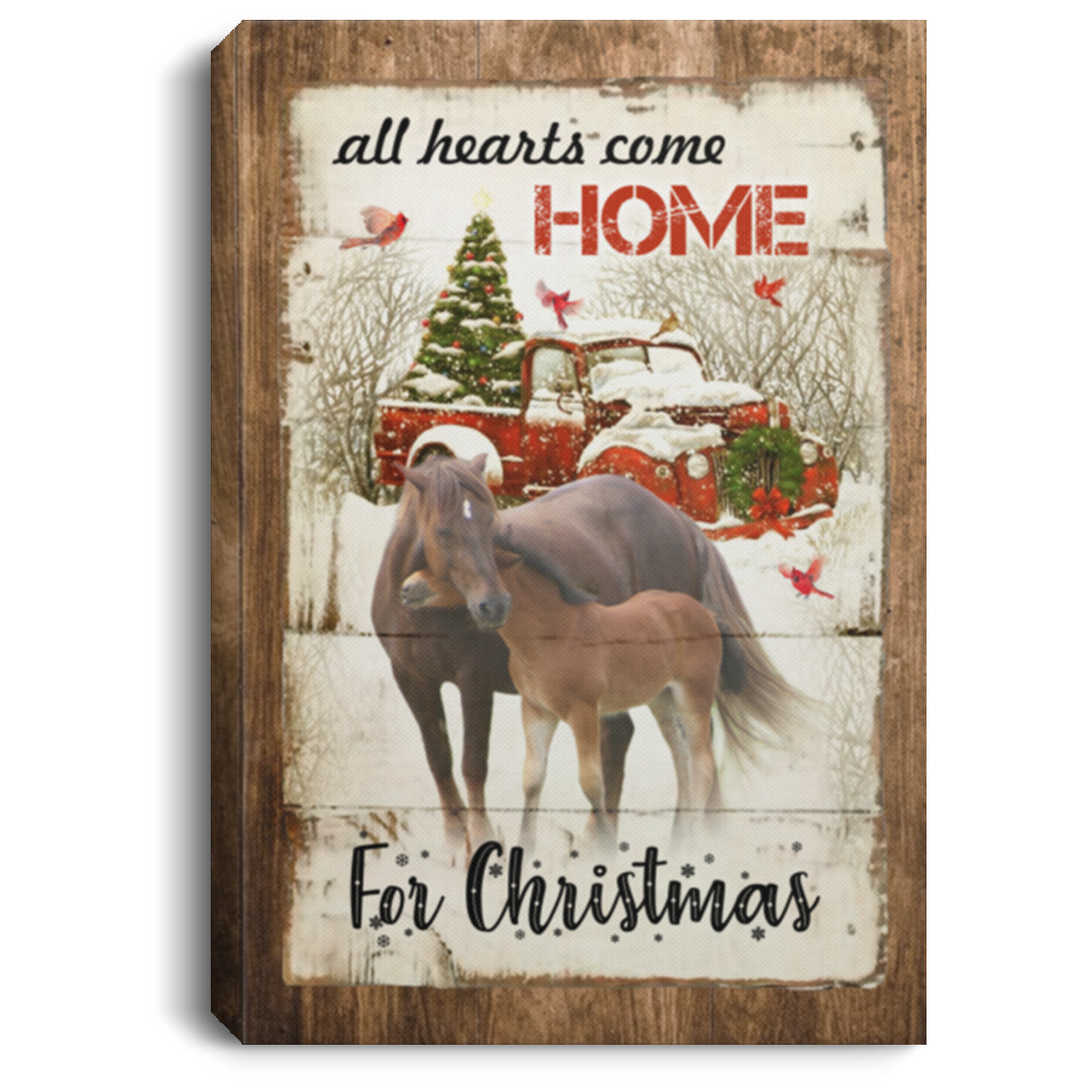 Christmas Horse Canvas Art Red Truck All Hearts Come Home For Christmas Canvas Cubebik