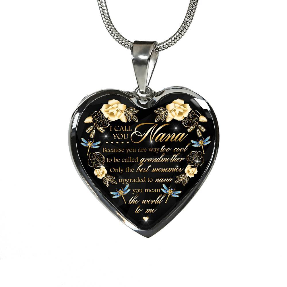 Stainless Steel or 18K Gold Finish Heart Pendant Necklace For Grandma A Gift for You Gift For Grandmother From Grandkids Custom Text Engraving Option