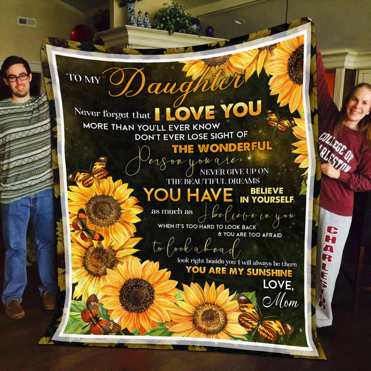 Sunflower to my daughter believe deeply you will never lose love mom blanket
