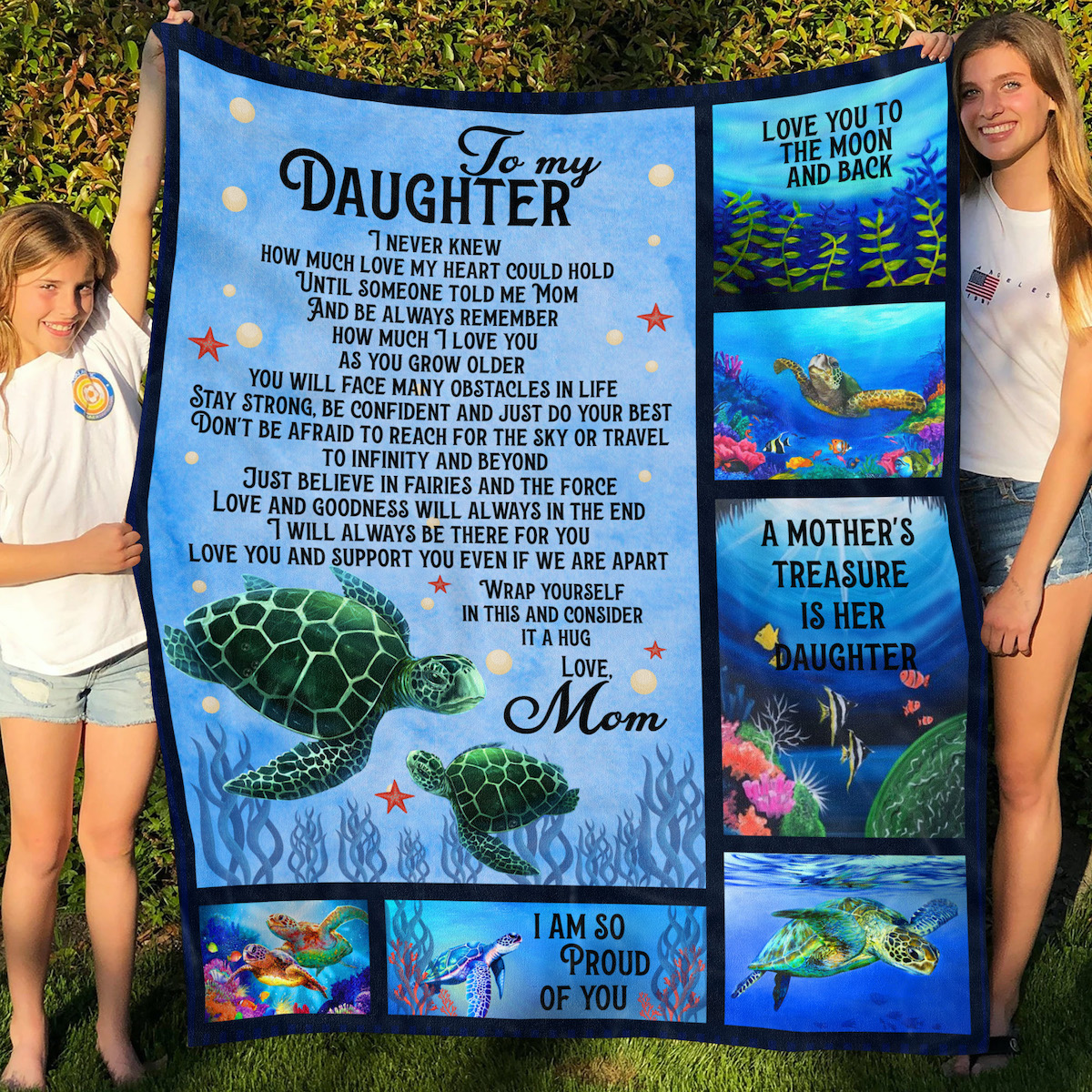 Funny Turtle Love Fleece Blanket For Daughter From Mom Sherpa Blankets Xmas Gift