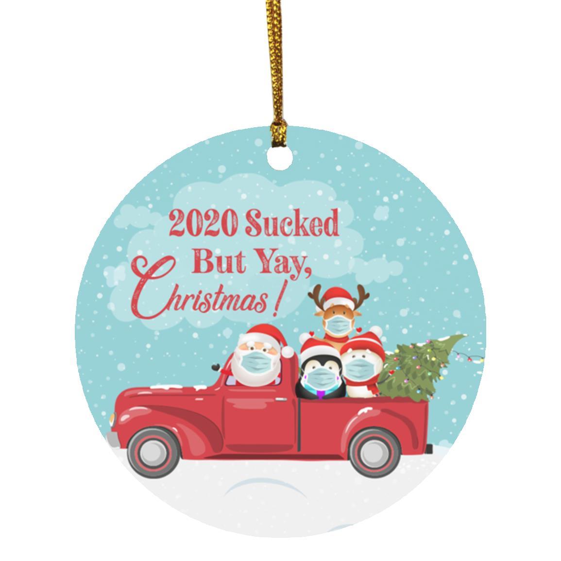 Santa Christmas Ornaments 2020 2020 Sucked But Yay Christmas Santa Ornament Cubebik Santa moth meme shirt, funny christmas meme shirt, santa moth meme shirt. 2020 sucked but yay christmas santa mask ornament funny holiday reindeer quarantined gift