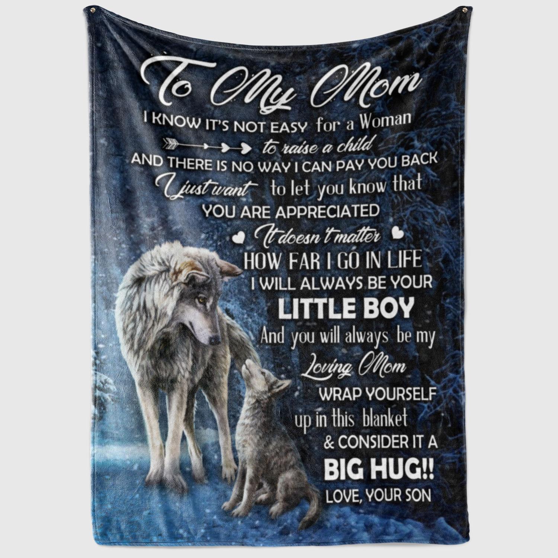 WOLF CUSTOMS BLANKET TO MY MOM BLANKET Fleece Blanket Printing in US