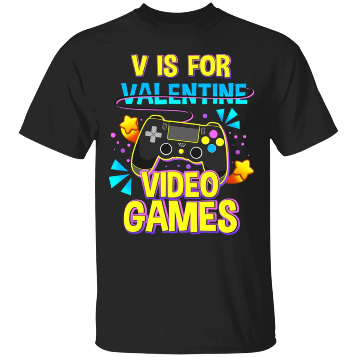 V Is For Video Games Funny Valentines Day Gamer Gift Vintage Men/'s Black T-Shirt